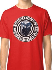 Never Cruel Or Cowardly - Doctor Who - Blue TARDIS Classic T-Shirt