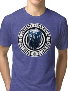 Never Cruel Or Cowardly - Doctor Who - Blue TARDIS Tri-blend T-Shirt