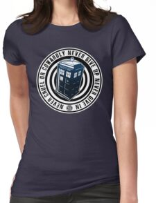 Never Cruel Or Cowardly - Doctor Who - Blue TARDIS Womens Fitted T-Shirt