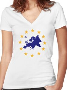 Europe Women's Fitted V-Neck T-Shirt
