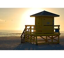 yellow guardhouse at sunset Photographic Print