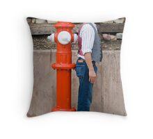 Man versus Fire Hydrant Throw Pillow