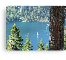White Sail Boat at Emerald Bay, Lake Tahoe Canvas Print