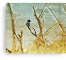 Belted Kingfisher At Rivers Edge Canvas Print