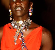 Young Maasai (Masai) Moran with Intiation Scars  by Carole-Anne