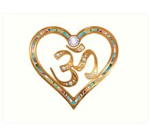 Two nesting golden hearts centered in OM  Art Print