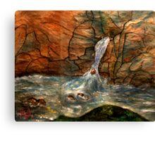 Rock Wall and Waterfall Canvas Print