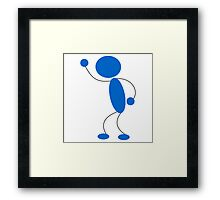 Blue Stick Figure with Arm Raised Framed Print