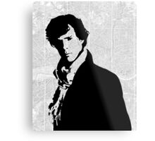 Sherlock With London Map Metal Print