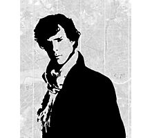 Sherlock With London Map Photographic Print