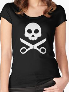 Skull and Scissors Women's Fitted Scoop T-Shirt