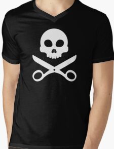 Skull and Scissors Mens V-Neck T-Shirt