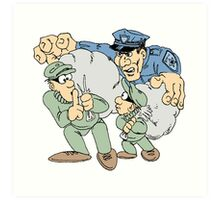 Cops and Robbers Cartoon Art Print