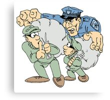 Cops and Robbers Cartoon Canvas Print
