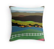 ART on PILLOWS, decor and gifts, green fields, blue river, white fence, Throw Pillow