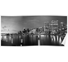 Darling Harbour Panorama BW - View In Large Poster