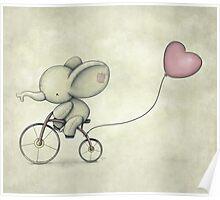 Cute Elephant riding his Bike Poster