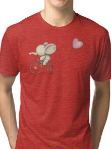 Cute Elephant riding his Bike Tri-blend T-Shirt