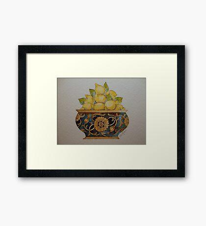 Lemons in Ornate Vintage Bowl 'Miniature Still Life' © Patricia Vannucci 2008 Framed Print