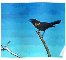 Red-Winged Blackbird Singing Abstract Impressionism Poster