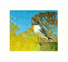 Laughing Gull on Florida Pier Abstract Impressionism Art Print