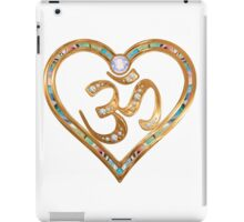 Two nesting golden hearts centered in OM  iPad Case/Skin