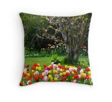 Tulips & Apple Blossom Throw Pillow