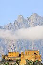 Corte, the citadel, the mountains and the clouds by Patrick Morand
