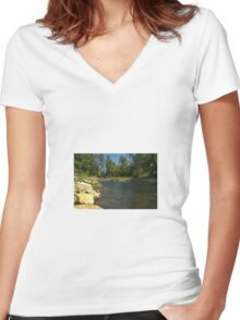 Peaceful River Women's Fitted V-Neck T-Shirt