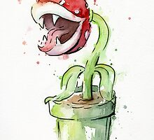 Piranha Plant Watercolor by OlechkaDesign
