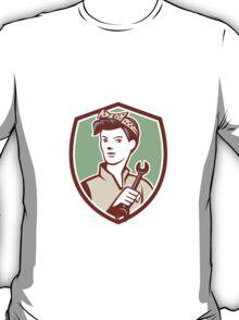 Female Mechanic Worker Holding Spanner Retro T-Shirt