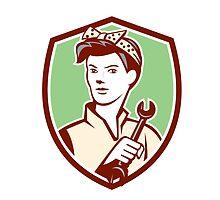 Female Mechanic Worker Holding Spanner Retro by patrimonio