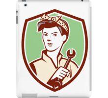 Female Mechanic Worker Holding Spanner Retro iPad Case/Skin