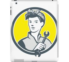 Female Mechanic Worker Holding Wrench Retro iPad Case/Skin