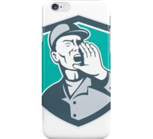 Worker Shouting With Hand in Mouth Shield iPhone Case/Skin