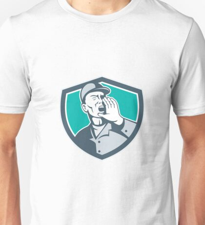 Worker Shouting With Hand in Mouth Shield Unisex T-Shirt