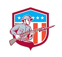 World War One Soldier American Retro Shield by patrimonio