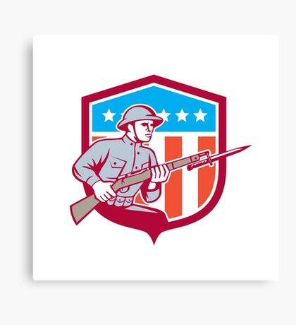 World War One Soldier American Retro Shield Canvas Print