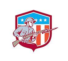 World War One Soldier American Retro Shield Photographic Print