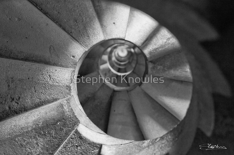 Spiral Staircase in the 'Sagrada Familia' Looking UP! by Stephen Knowles