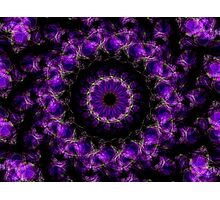Saturn's Rings Purple Kaleidoscope Mandala Photographic Print