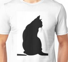 Black cat with long tail Unisex T-Shirt