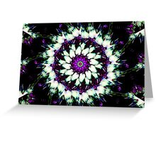 Purple and White Kaleidoscope Mandala Greeting Card