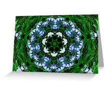 Bluebell Flower Kaleidoscope Mandala Greeting Card