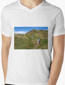 Walking Up Mam Tor Mens V-Neck T-Shirt