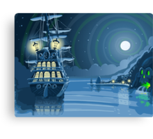 Nocturnal Adventure Island with Pirate Galleon Anchored Canvas Print