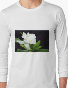 White Gardenia Against Black Long Sleeve T-Shirt