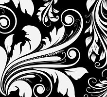 Venetian Damask, Ornaments, Swirls - Black White by sitnica