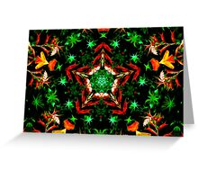 Orange and Green Star Kaleidoscope Mandala Greeting Card