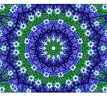 Blue Green Floral Kaleidoscope Mandala Photographic Print